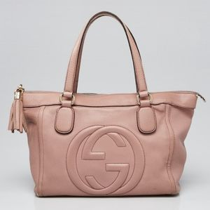 GUCCI Pink Pebbled Leather Soho Tote Bag